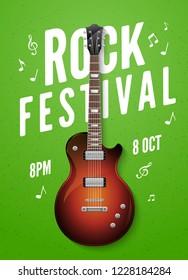 Rock festival flyer event design template with guitar. Music band live concert billboard poster.
