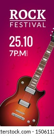 Rock festival flyer event design template with guitar. Rock banner brochure invitation.