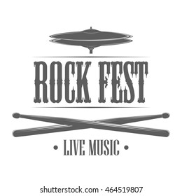 Rock festival logo template. Vector Illustration with drum sticks and cymbal on white background. Design element for music concert advertising, posters or flyers. Monochrome signage in retro style.