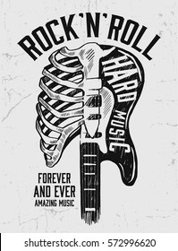 Rock festival poster. Rock and Roll sign. Slogan graphic for t shirt