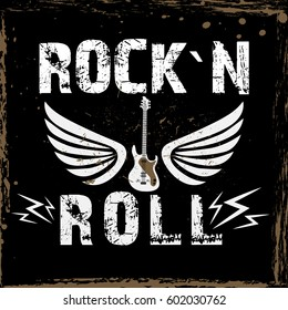 Rock festival poster. Rock and Roll sign. Slogan graphic for t shirt and other uses