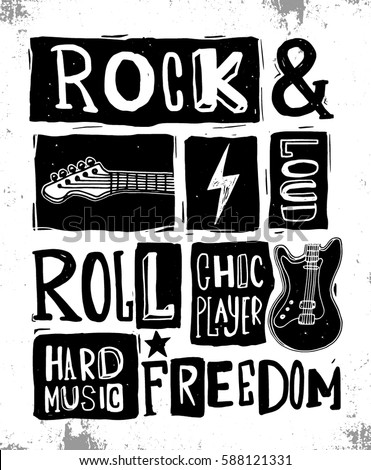 rock festival poster rock roll sign のベクター画像素材