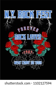 Rock Festival print, poster with texts and rose flowers, fashion print for t shirt and other uses.