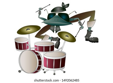 Rock frog with tatoo and fashion glasses playing drums. Cartoon character. Vector illustration