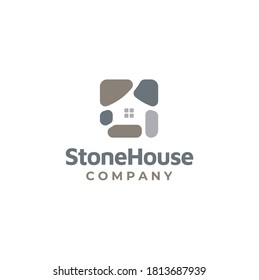 Rock Gravel with windows for Natural Stone House logo design