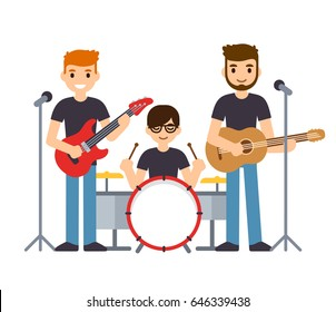 Rock group or pop music boys band, three musicians playing guitars and drums and singing. Flat cartoon vector characters illustration.