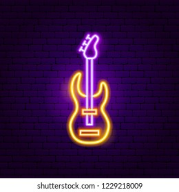 Rock Guitar Neon Sign. Vector Illustration of Music Promotion.