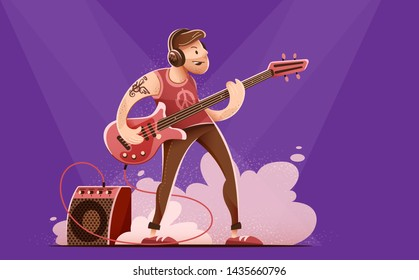 Rock guitar player man in headphones, playing rock music with bass guitar on concert stage. Sound amplifier speaker in smoke. Character isolated on dark background. Eps10 vector illustration.