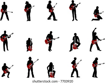 rock guitar silhouettes