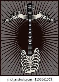 Rock guitar skeleton drawing art