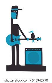Rock guitarist with amplifier, cartoon vector illustration on white
