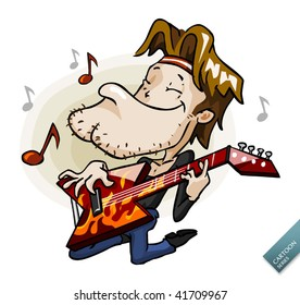 Rock Guitarist on stage. Detailed cartoon vector series in isolated white.