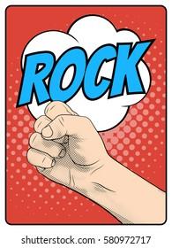 Rock hand gesture. Rock paper scissors hand game pop art style. Comic book imitation. Vector