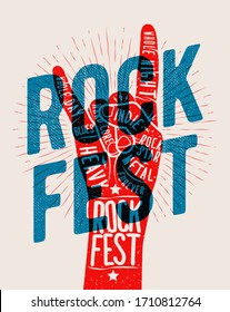 Rock hand gesture silhouette with rock fest caption. Live rock and roll music party or event or concert of festival poster concept. Vector illustration