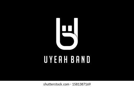 Rock Hand Rock n Roll with Initial Letter UB BU Logo Design