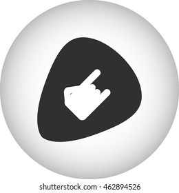 Rock hand template on plectrum sign simple icon on background