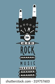 Rock hand. Template for posters and prints. Time for rock music.