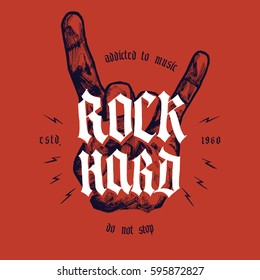 rock hard hand print with medieval lettering