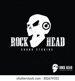 Rock Head, Sound music and Skull Logo Template