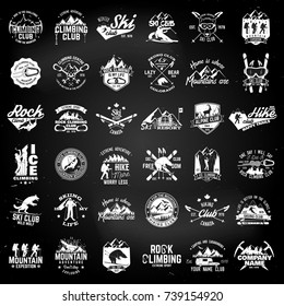 Rock and ice climbing,skiing, alpine and hiking club. Vector illustration. Set of vintage badges, labels, logos, silhouettes. Vintage typography collection with 36 items. Outdoors adventure emblems.