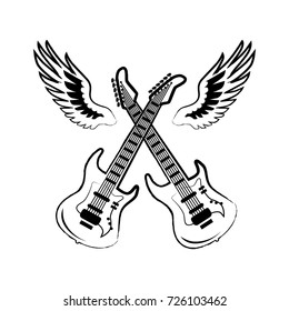 Rock icons of crossed electric guitars, with six strings on it and wings behind them vector illustration isolated on white background