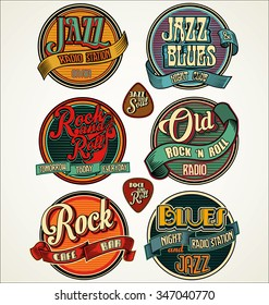 Rock, jazz and blues retro vintage badges and labels collection