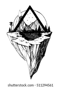 Rock, lake and mountains. Modern tattoo sketch. Vector illustration
