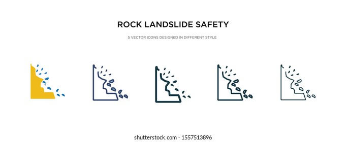 rock landslide safety icon in different style vector illustration. two colored and black rock landslide safety vector icons designed in filled, outline, line and stroke style can be used for web,