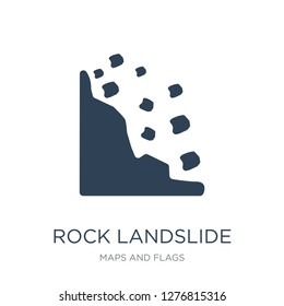 rock landslide safety icon vector on white background, rock landslide safety trendy filled icons from Maps and Flags collection, rock landslide safety vector illustration