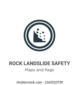Rock landslide safety vector icon on white background. Flat vector rock landslide safety icon symbol sign from modern maps and flags collection for mobile concept and web apps design.