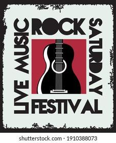 rock live festival lettering poster with guitar vector illustration design