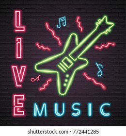 Rock Live Music and Guitar Neon Light Glowing. Neon Luminous Signboard Bright  Vector Symbol Sign  Vintage Illustration Design