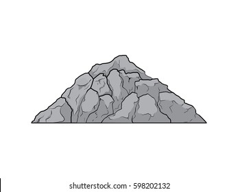 Rock mountain, bunch of stones vector flat  illustration