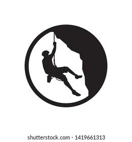 Rock mountain climbing logo template vector illustration