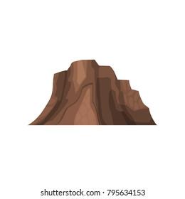 Rock mountain, outdoor design element, nature landscape, mountainous geology vector Illustration