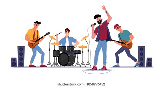 Rock music band, musicians playing on guitars, drum set and singer with microphone, soloist singing songs. Vector music players perform on electric string instruments, man sing in mic, jazz group