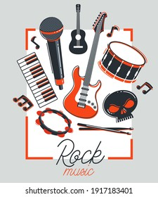 Rock music band vector poster flat illustration isolated over white background, hard rock and heavy metal live sound festival or concert flyer or advertising banner, rock n roll musical band playing.