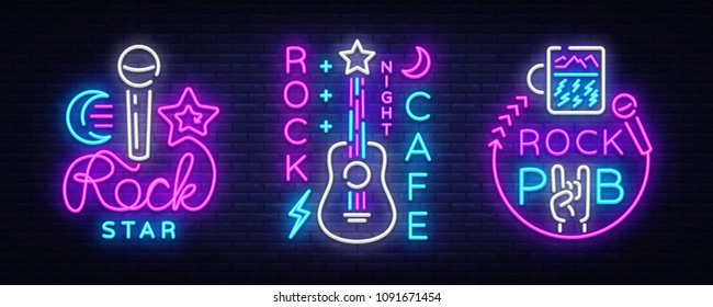 Rock Music collection Neon Logos Vector. Rock Pub, Cafe, Rock Star Neon Signs, Conceptual symbols, Bright Night Advertising, Light Banner, Live Music, Karaoke, Neon Signboard, Design Element Vector