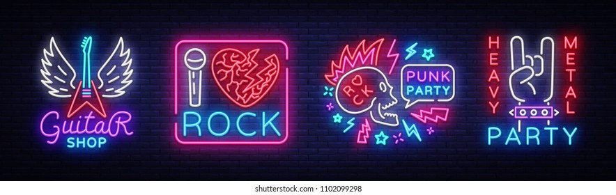 Rock Music collection Neon Signs Vector. Rock music set logos, Guitar Shop, night neon signboard, design element invitation to Rock party, concert, festival, night bright advertising. Vector