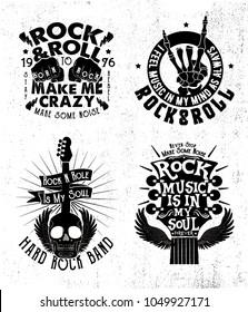 rock music concept print design set as vector