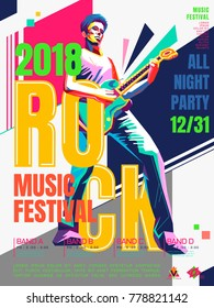 Rock music concert poster, bass guitar player in WPAP style, pop art portrait for rock music festival