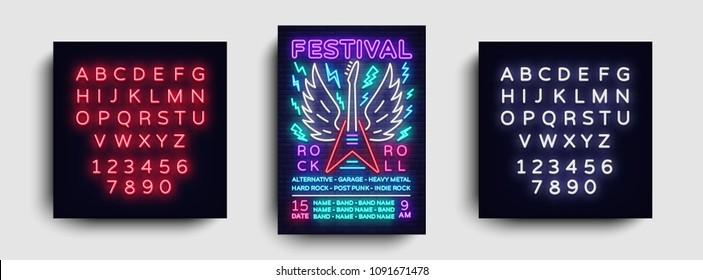 Rock music concert poster vector. Design Template Rock Music Festival, Neon Style, Neon Banner, Light Flyer, Concert Invitation, Rock Roll Music, Night Party Invitation. Vector. Editing neon sign