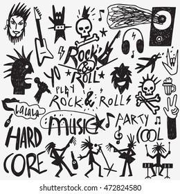Rock music doodles