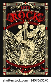 Rock music. Electric guitar with wings. Heavy metal, Let's Rock slogan. Musical old school art, t-shirt design