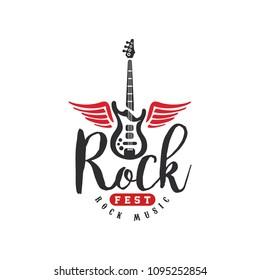 Rock music fest logo, emblem for Rock festival, guitar party, musical performance, design element can be used for poster, banner, flyer, print or stamp vector Illustration on a white background