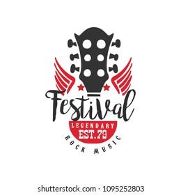 Rock music festival, legendary est. 1979 logo, design element can be used for poster, banner, flyer, print or stamp vector Illustration on a white background