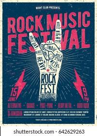 Rock Music Festival Poster, Flyer. Vintage Styled Vector Illustration.