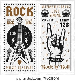 Rock music festival two vertical banners or invitation flyers vector templates with guitar and horns hand gesture