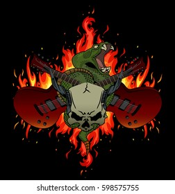 Rock music festival vector illustration with flames, crossed guitars, rattle snake and horned skull. Good fore posters, t-shirt prints, stickers, party invitations.