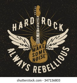 rock music graphic design with old effect, guitar illustration and wings